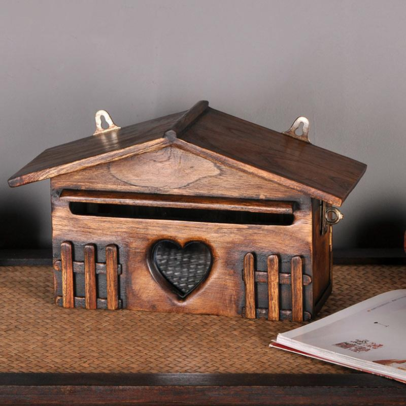 Tissue Boxes & Napkins Wooden Box Retro House Wall Hanging Napkin Holder Waterproof Case Mount
