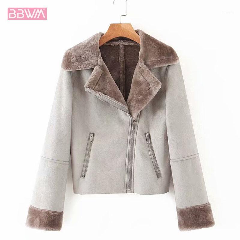 Женские куртки Buckskin с длинным рукавом отворот молния женская куртка 2021 зимняя теплая локомотив Harajuku женское пальто меховой меховой меховой ретро Топ1