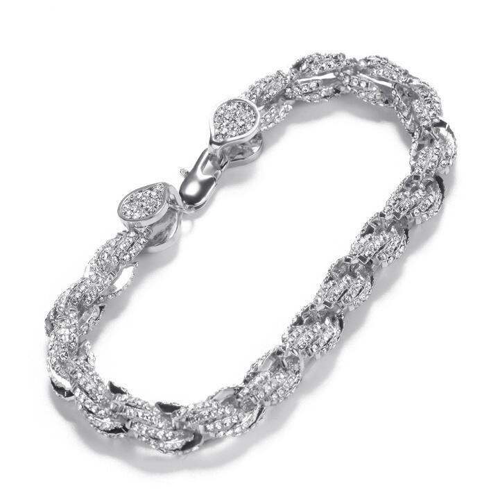 Hip-hop alliage forage incrusté de 9 mm bracelet torsion chaîne corde torsadée nouveau Bracelet hommes de personnalité de la mode gros