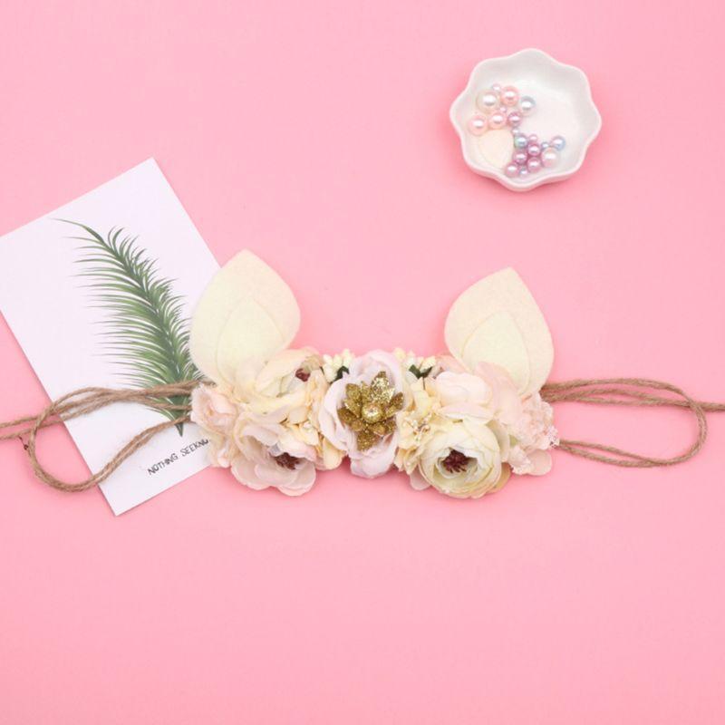 Bébé Hairband Fleur artificielle Tissu bandeau mignon oreilles main de Pâques Hairband K1MA