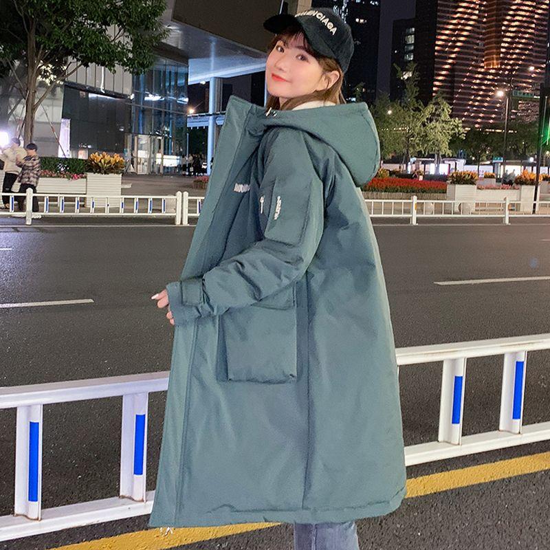 Женские зимние куртки X-длинные пальто зимы для женщин с капюшоном Корея Стиль Толстой Solid Plus Размера Большого карманного сыпучих Parkas Женщины 201014