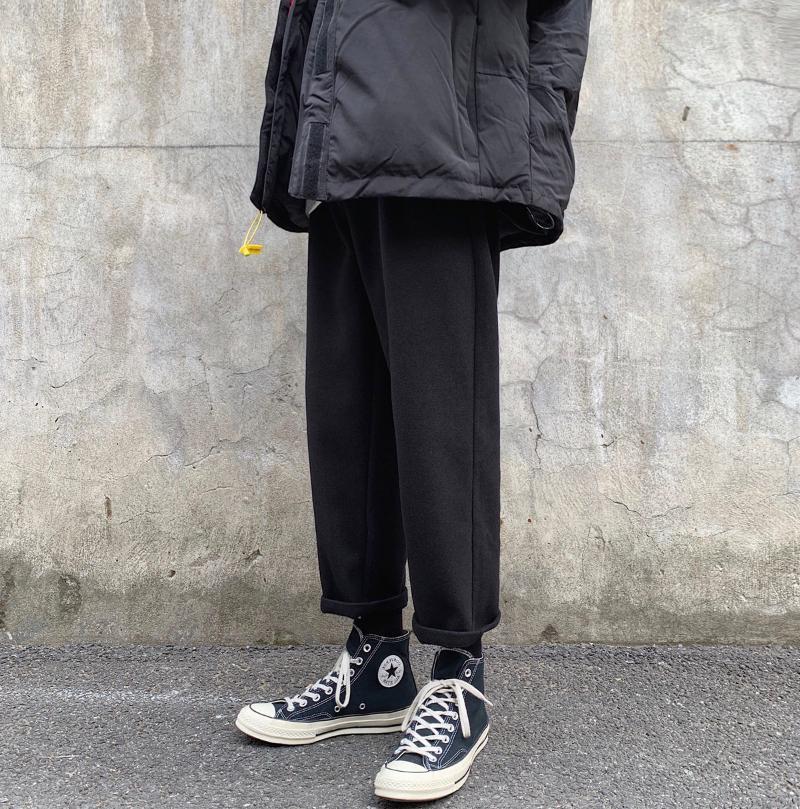 Neploha осень зима повседневные брюки мужчина сплошной цвет моды брюки женщины негабаритные хараджуку прямые штаны классические