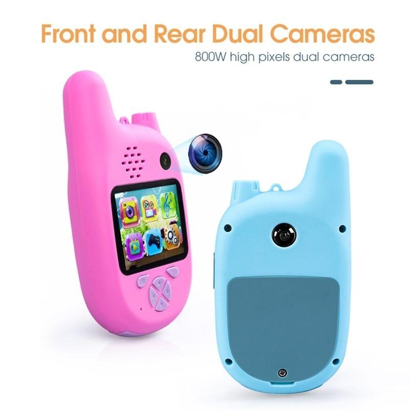 1080p 8,0 millions de pixels 2 en 1 Talkie Smart Numérique Walkie Talkie pour Enfants avec magnétoscope, Enregistreur vidéo MP3 Enregistreur enfants Puzzle Puzzle cadeau 201214