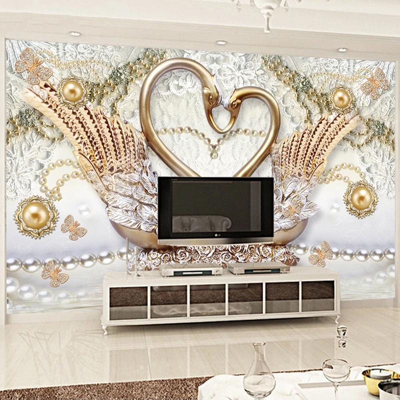 Custom Mural Wallpaper Luxury 3D Golden Jewelry Flowers Swan Living Room TV Background Wall Murals Photo For Walls