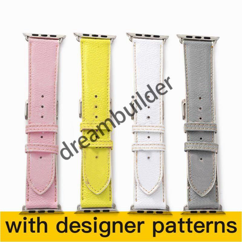 L Fashion Watchbands for iPhone Watch Band 42mm 38mm 40mm 44mm iWatch 3 4 5 bandas pulseira de couro pulseira listras relógio de gota