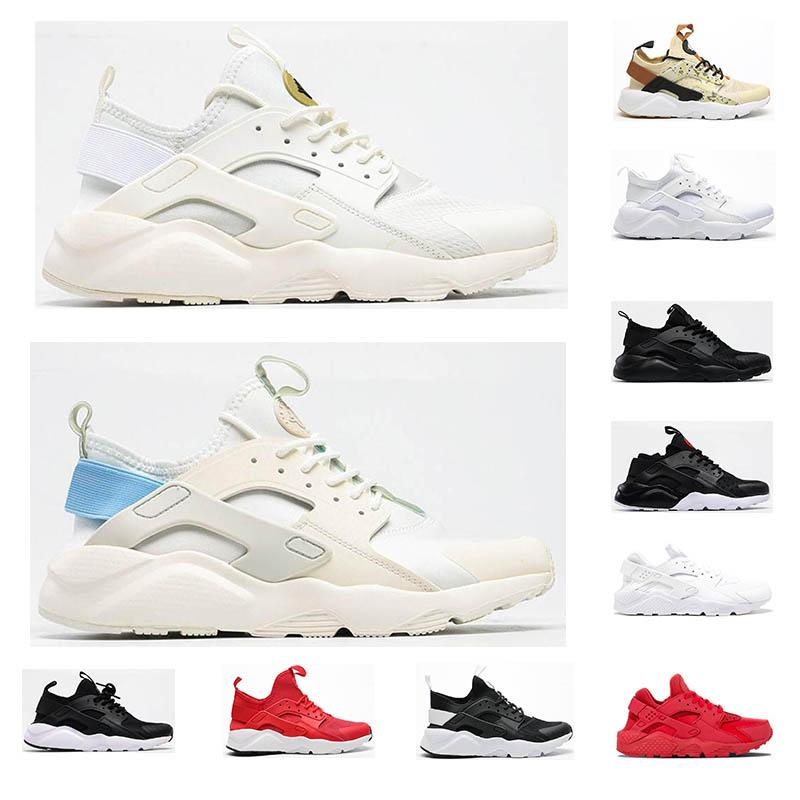 Huarache 4 running Chaussures Pour Hommes Femmes Noir blanc rouge Grey Sneakers Huaraches Jogging Chaussures De Sport