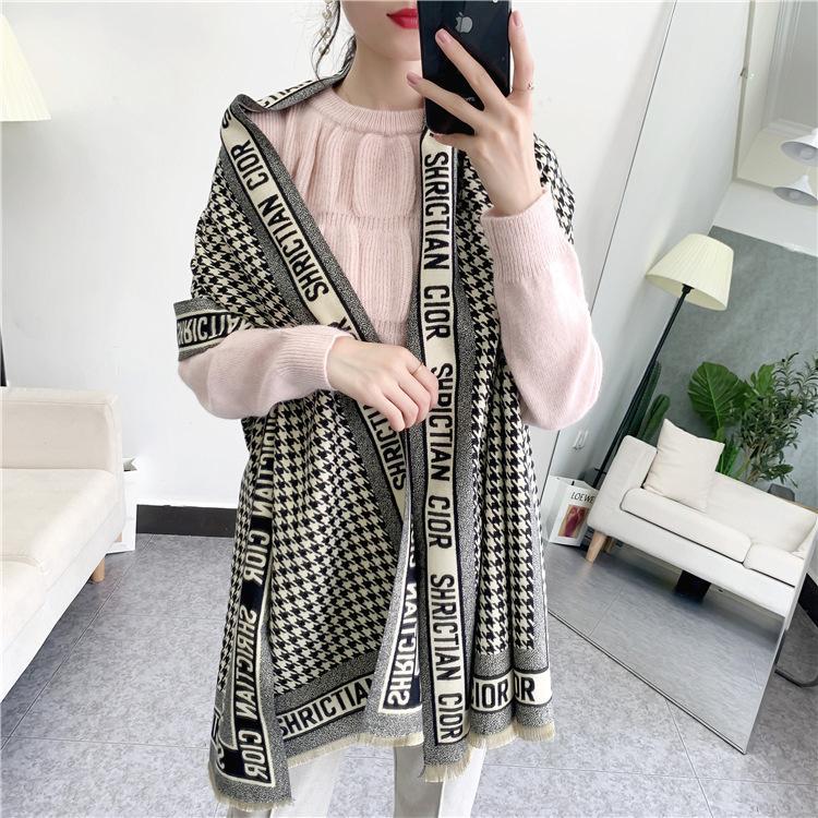 air conditionné femme grande cape écharpe double houndstooth noir et blanc fil ultralarge femme long et épais
