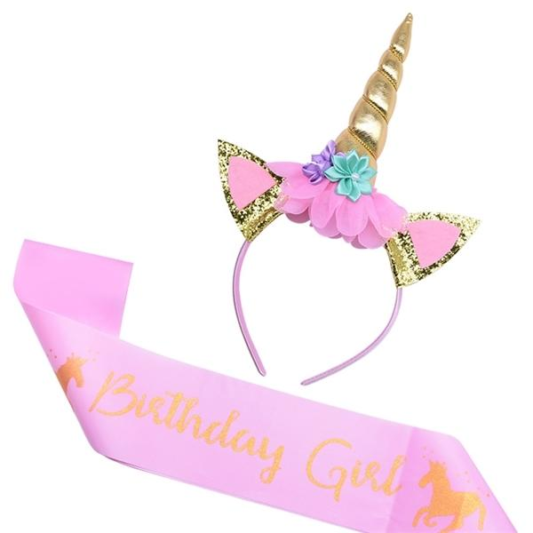 Headband with Sash Cake Topper Baby Shower Girl Birthday Decorations Unicorn Party Supplies