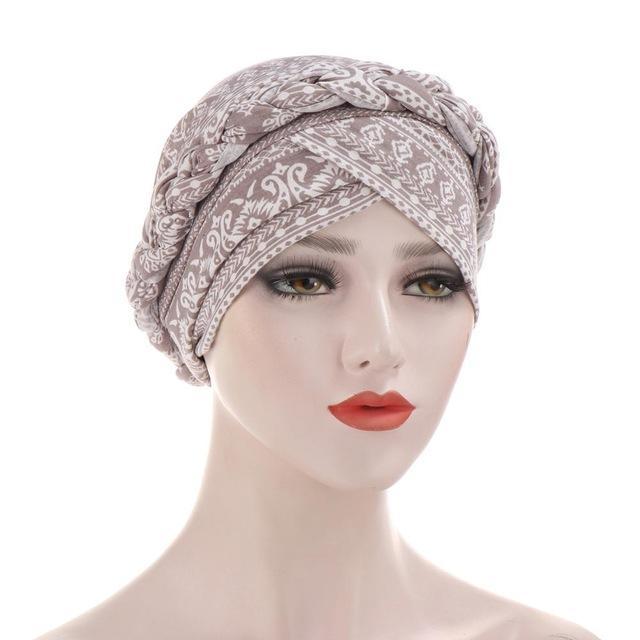 Hot Sell Headwear Cap africano musulmano Turbante accessori dei capelli di stile di modo donne della stampa intrecciato Bandane Copricapo
