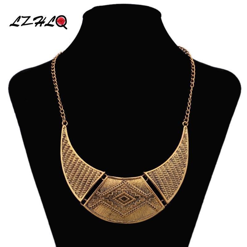 Ketten lzhlq gold farbe feine halbmondform halskette metall geschnitzt vintage halsketten anhänger böhmischen frauen schmuck collier femme