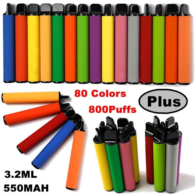뜨거운 일회용 vape 펜 800 퍼프 550mAh 배터리 일회용 전자 담배 vape 카트리지 3.2ml 카트 80 색 기화기 업그레이드 된 막대 비어있는