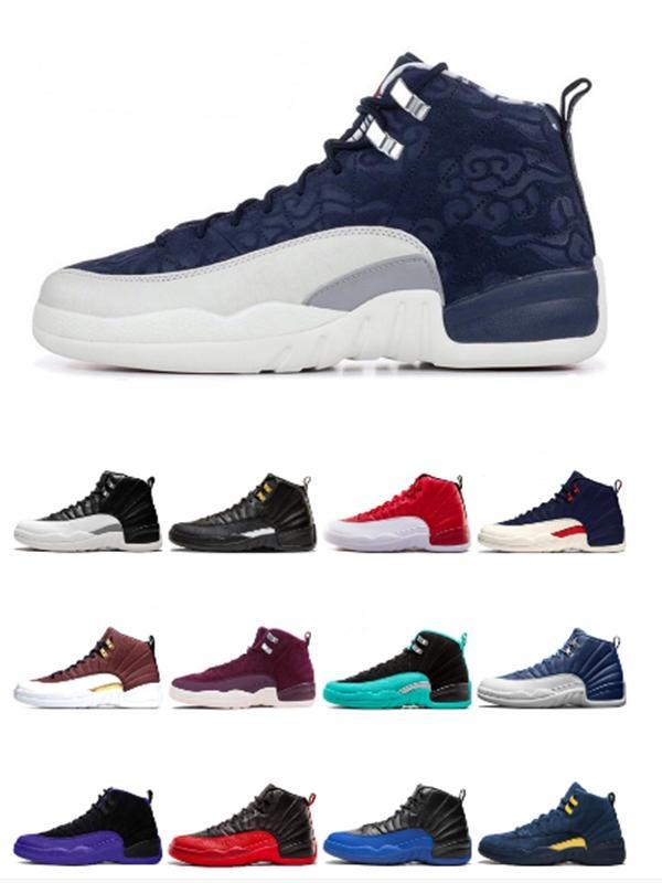 2020 Горячие мужские ботинки баскетбола J12s Concord камень Синий университет Золотой сатин 12s обувь ретро Быки кроссовки Кроссовки размер 36-46