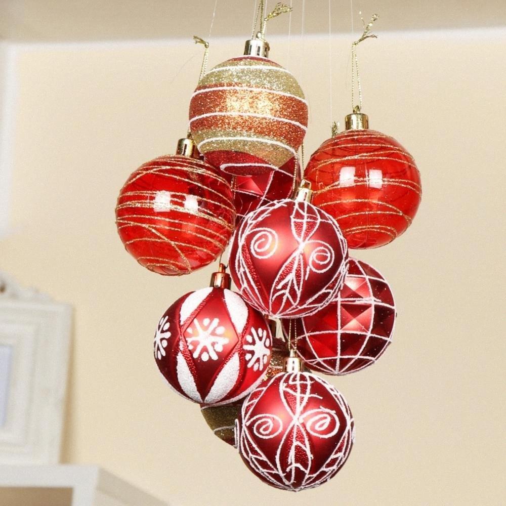 Conjunto brillo bola de Navidad colgando del árbol de Navidad Adornos Pintura Bola de Navidad Decoración EWw2 #