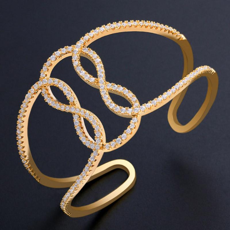 Zlxgirl Europe Design Gold Bangle Bijoux Classic Metal Micro Paave Réglage de mariage Anniversaire de mariage Bijoux
