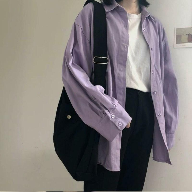 Лето Нового прибытие женщины Batwing рукав Негабаритной Фиолетовая Кнопка рубашка воротник отложной вверх Basic Chic Блузы