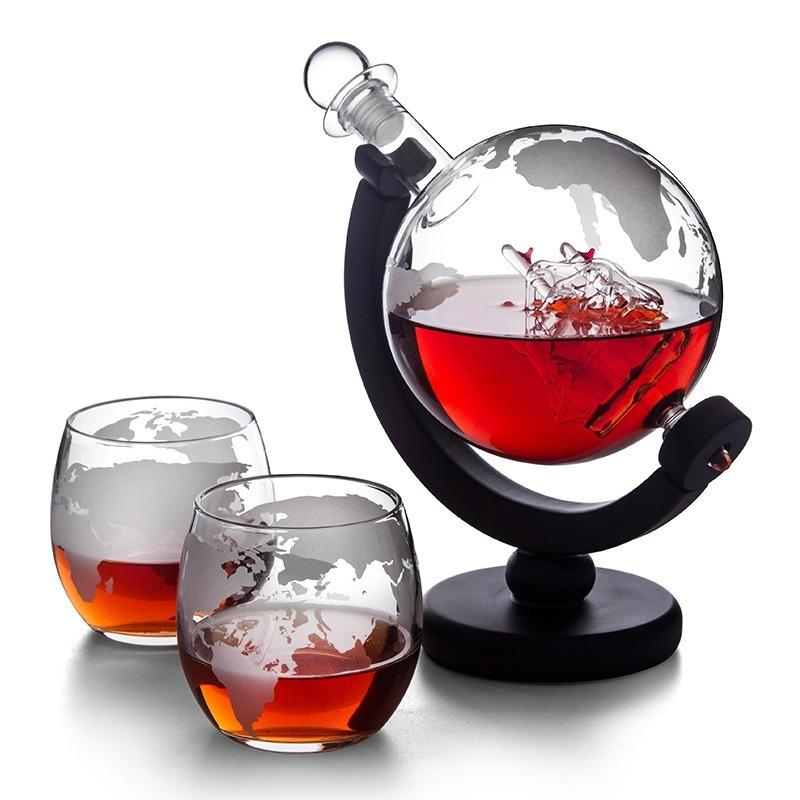 Бутылки вина Globe Виски Графин с Вудом Стенд Вино Аэратор Стекло Вино Алкоголь Водка Ликер Диспенсер Pourer Бар Инструменты