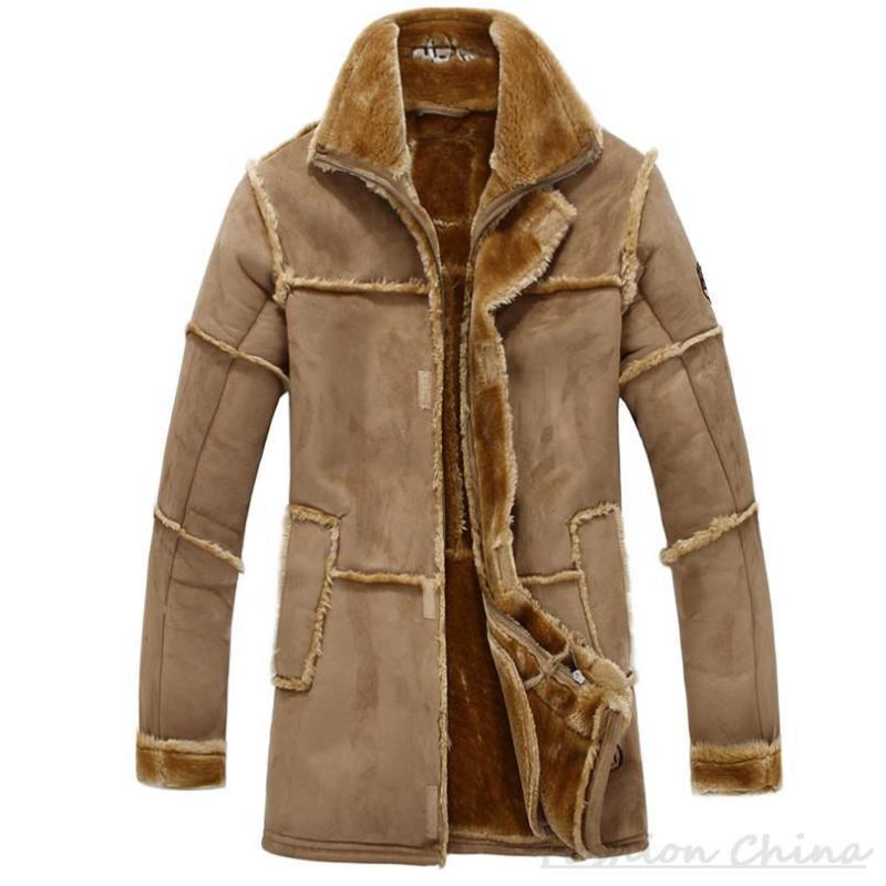 남성용 모피 가짜 패치 워크 스웨이드 가죽 자켓 남성용 양털 재킷 럭셔리 두꺼운 따뜻한 긴