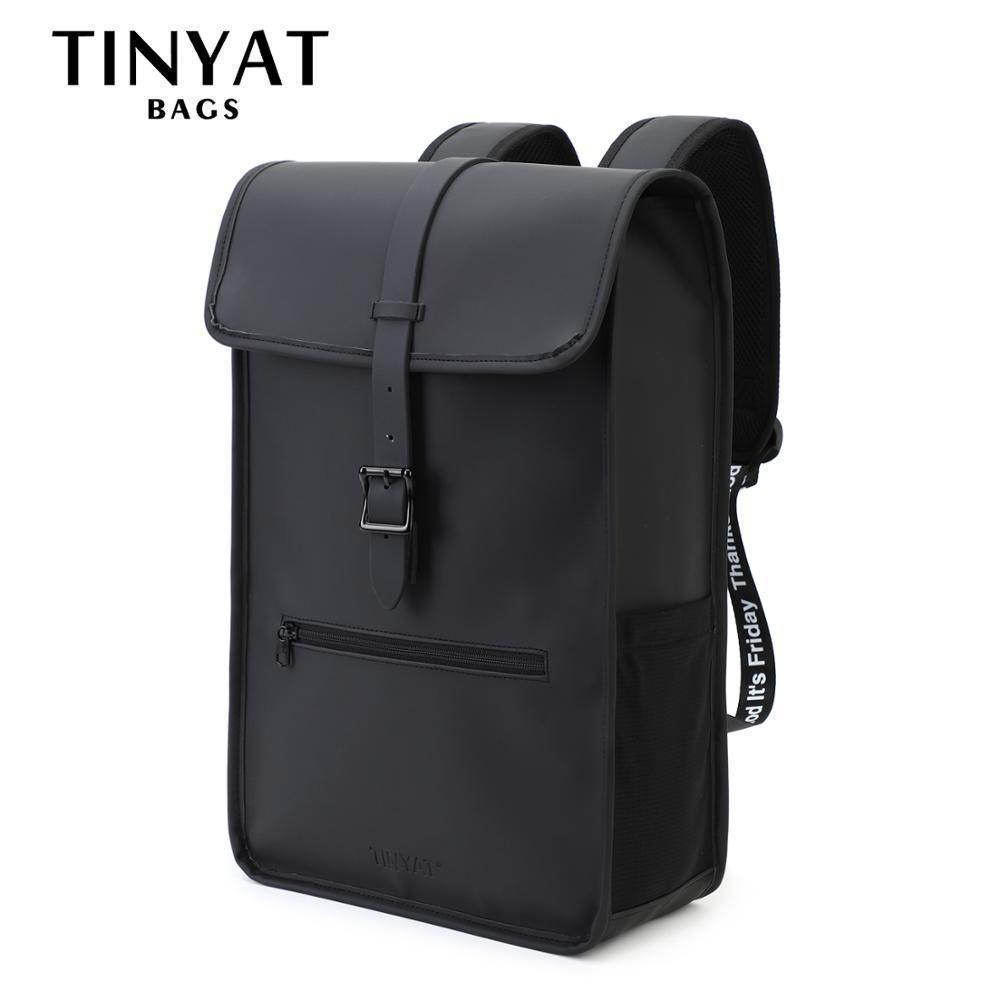 TINYAT New Men's backpack Leather Print Letter PU Mens Laptop for 14 inch Travel Mochila School Bag Shoulder B Q0112
