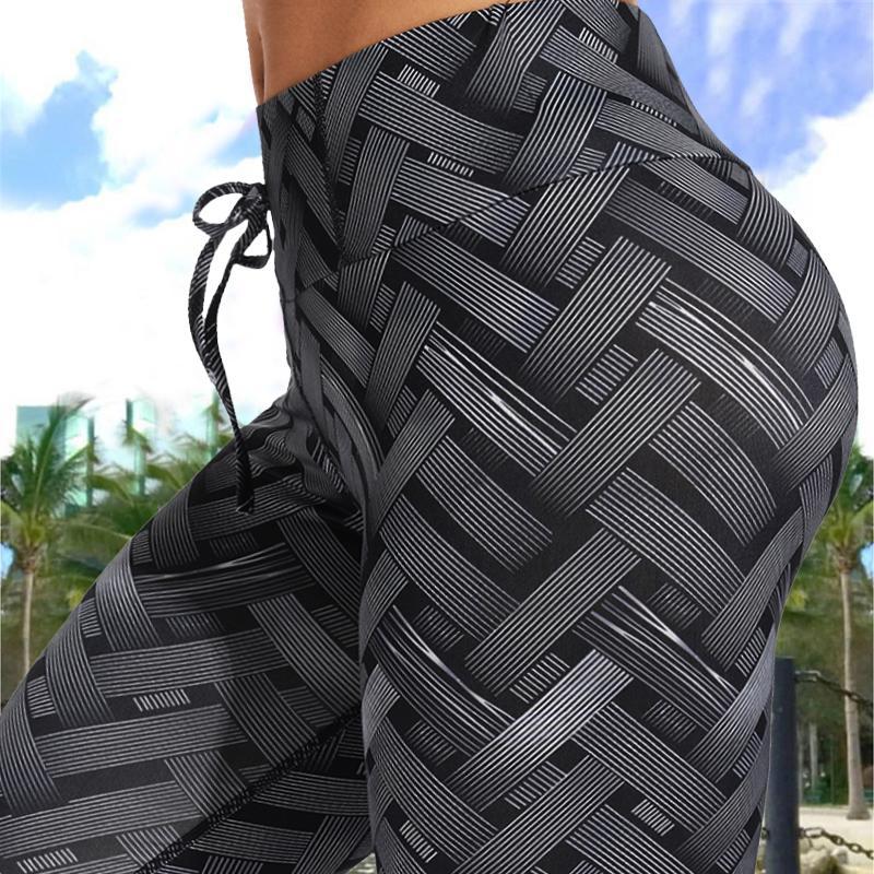 Sexy cintura alta de hierro tejer entrenamiento polainas Weaving Impreso corbata aptitud de las mujeres Scrunch botín pantalones delgados pantalones Correr C0929
