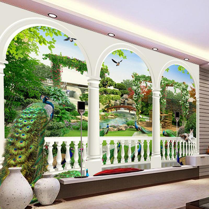 Custom Photo Wallpaper Large HD 3D Stereoscopic Dream Bird Peacock Palace Gardens Mural TV Living Room Sofa Background