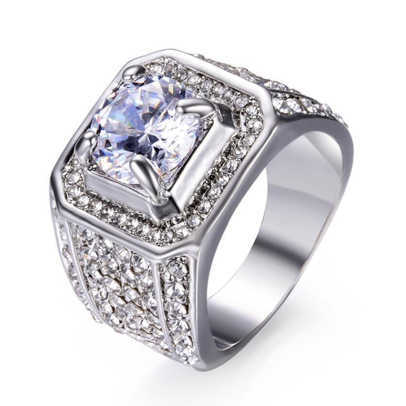 Erkekler hediye için Moda Büyük Erkek Kristal Rhinestone Geometrik Yüzük Zirkon Taş nişan yüzüğü 18kt Gümüş Büyük Alyanslar