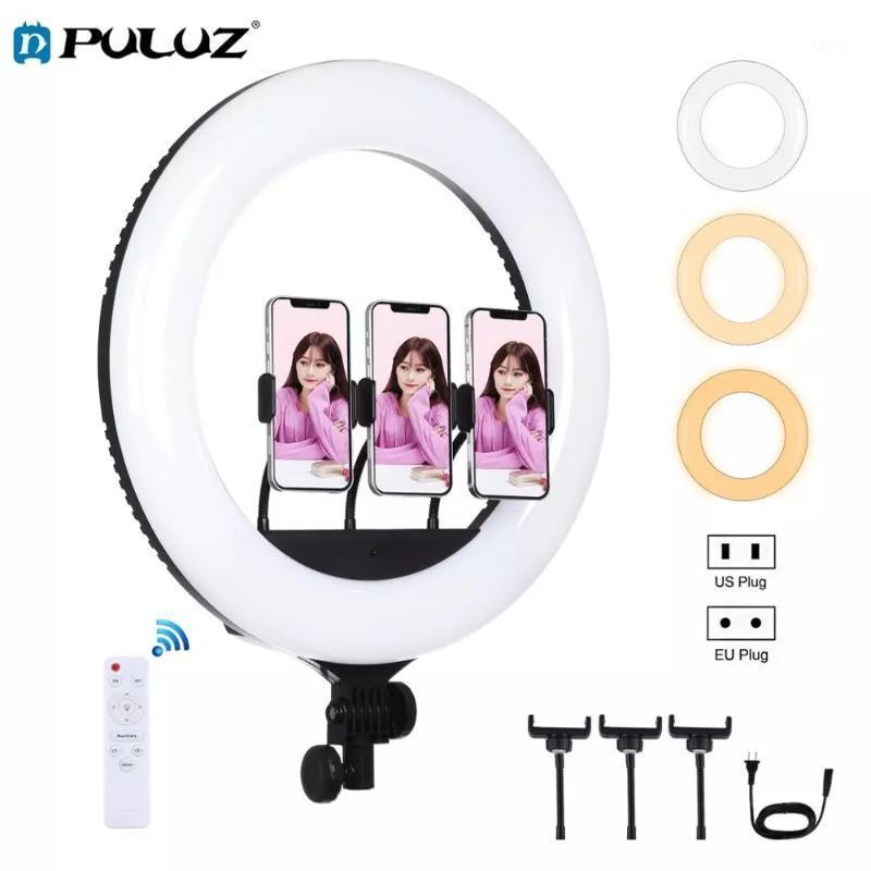 PULUZ 18 inch 46cm USB 3 Modes Dimmable White Light LED Ring Vlogging Photography Video Light with Remote Control&3xPhone Clamps1