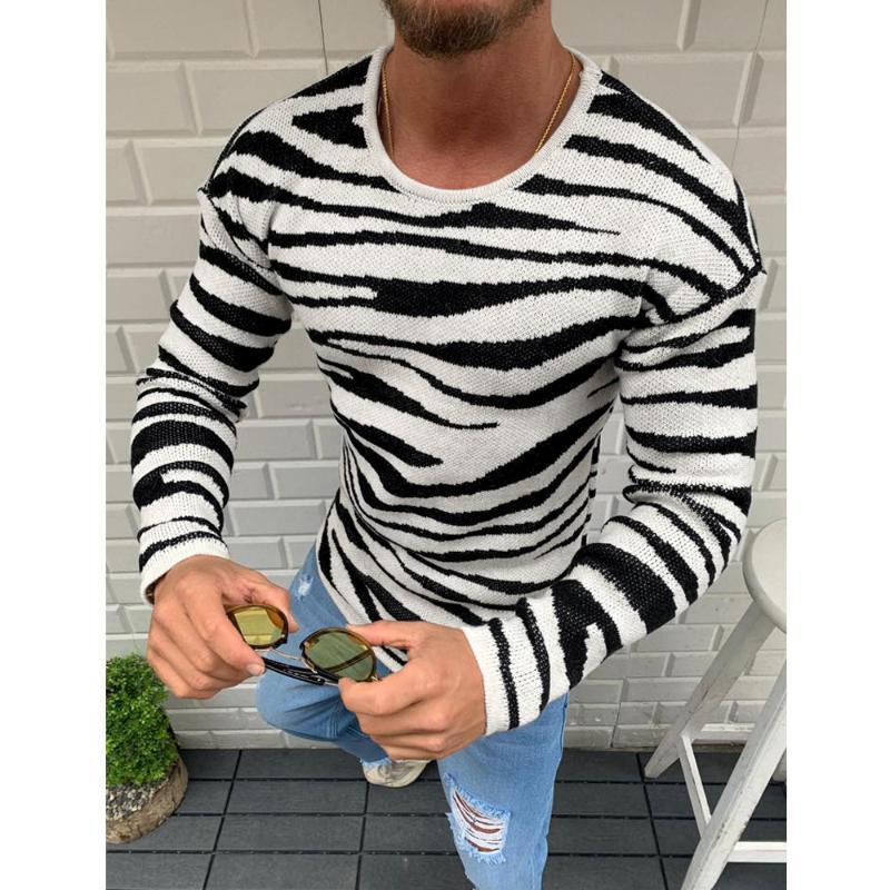 Suéteres para hombres hombres saltadores jersey punto de punto coreano ropa de moda masculina calle zabra impresión raya casual delgado ajuste tops cálido negro