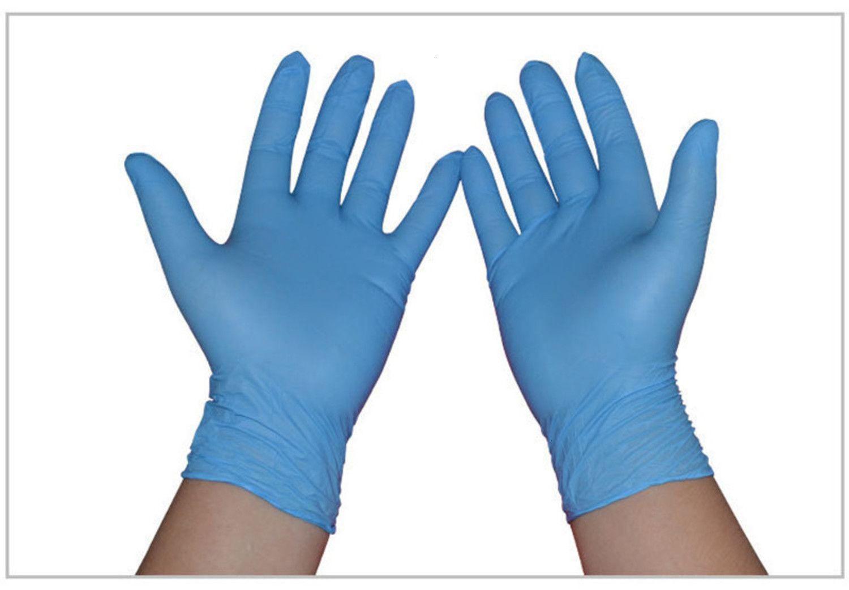 Guanti impermeabili Senza polvere nitrile blu per alimenti Lavorazione acidproof monouso Nitr Rqot1