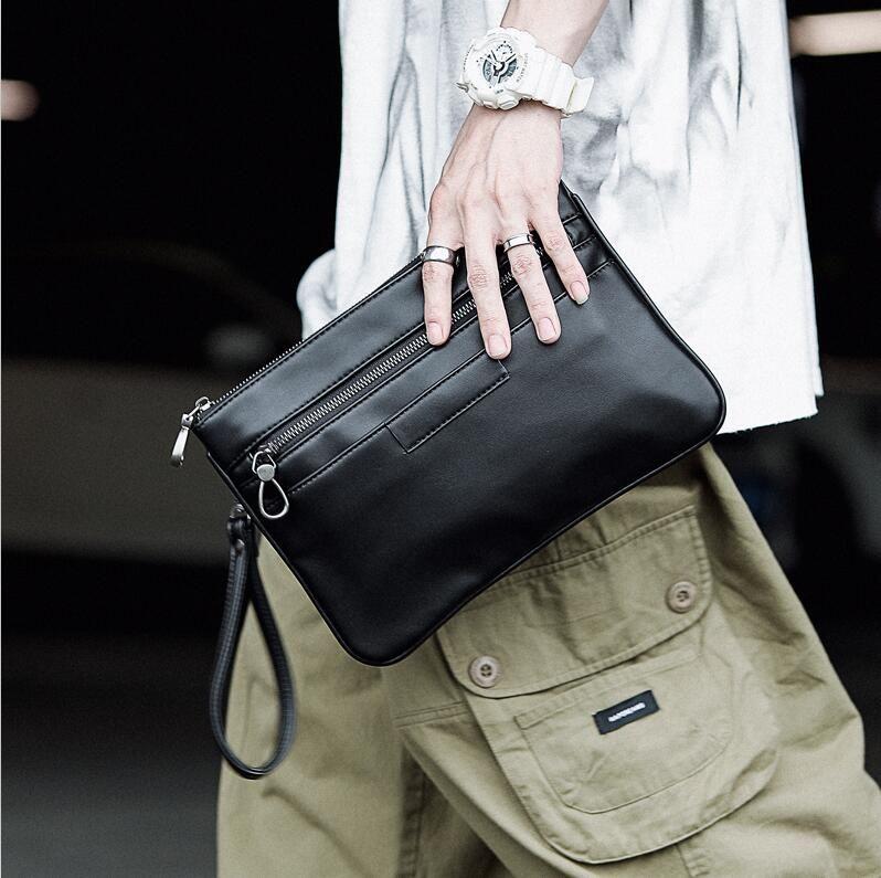 wholesale men handbag simple Joker leather wrist bag street trend leather multifunctional clutch casual large capacity leather storage walle