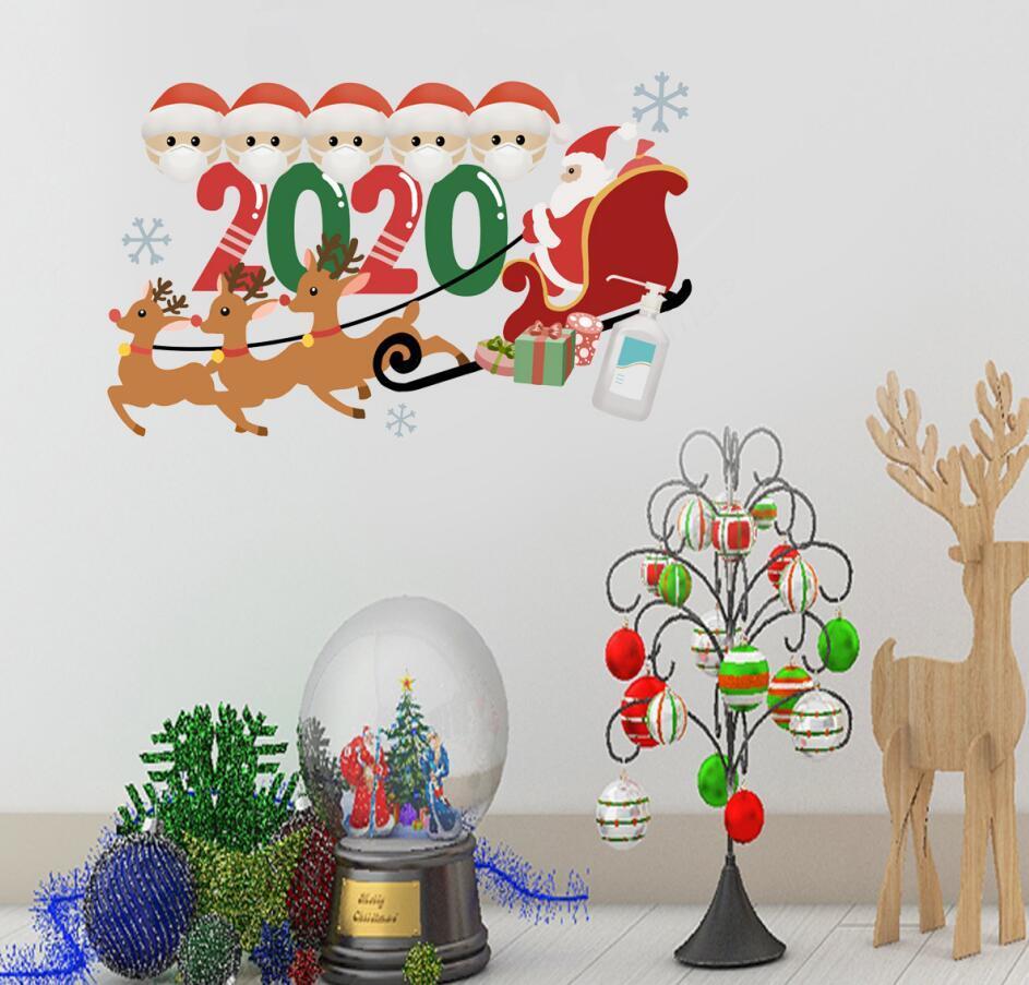Familia de cuarentena mascarilla de 2020 adorno de navidad pegatina pegatinas pared de la ventana Poster Festival de etiquetas caseras de la puerta Decoración de Navidad E101304