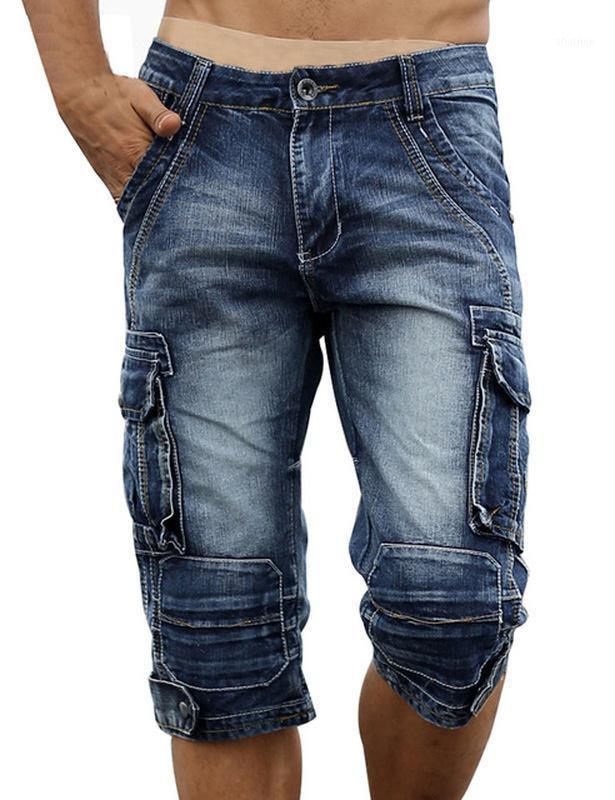 Summer Mens Cargo Denim Shorts Multi Bolsillas de algodón lavado retro pantalones cortos para hombres YC10701
