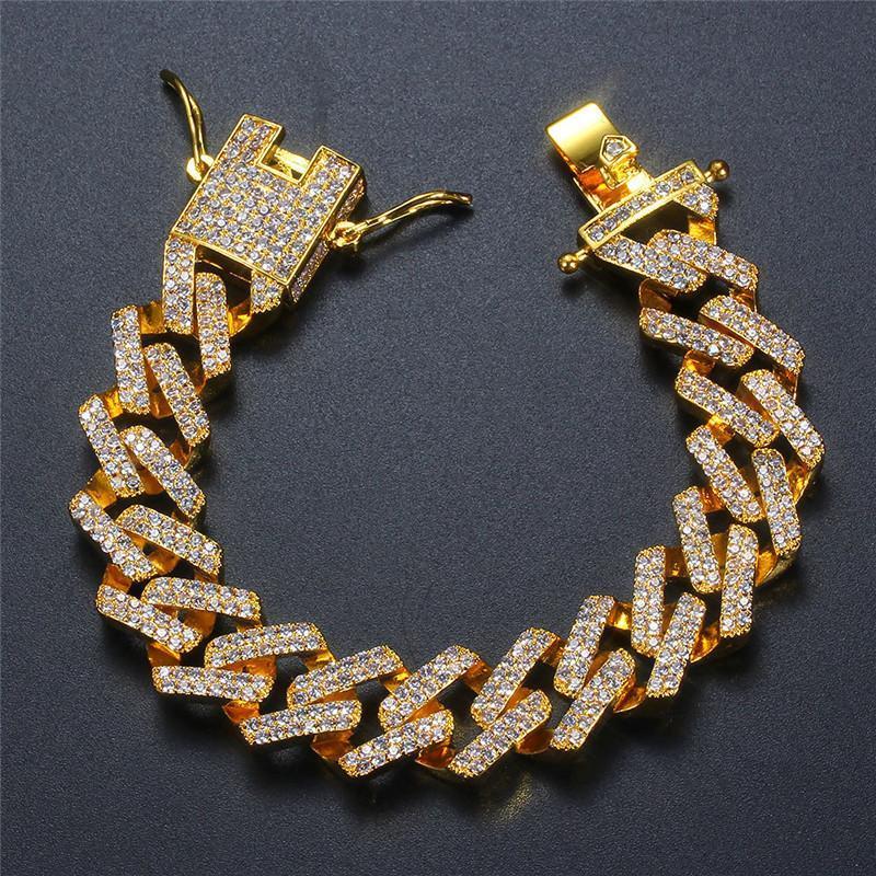 Pulsera de moda de 14 mm 7/8 pulgadas pulseras de piedra fuera de Bling CZ heló la joyería plateada oro Hombres Mujeres