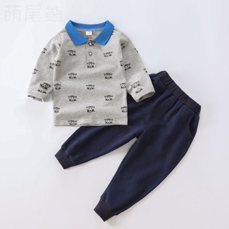 2020 sonbahar çocuk erkek giyim seti çocuk spor takım elbise çocuklar karikatür desen uzun kollu yaka kazak + pantolon 2 adet eşofman bebesx1019