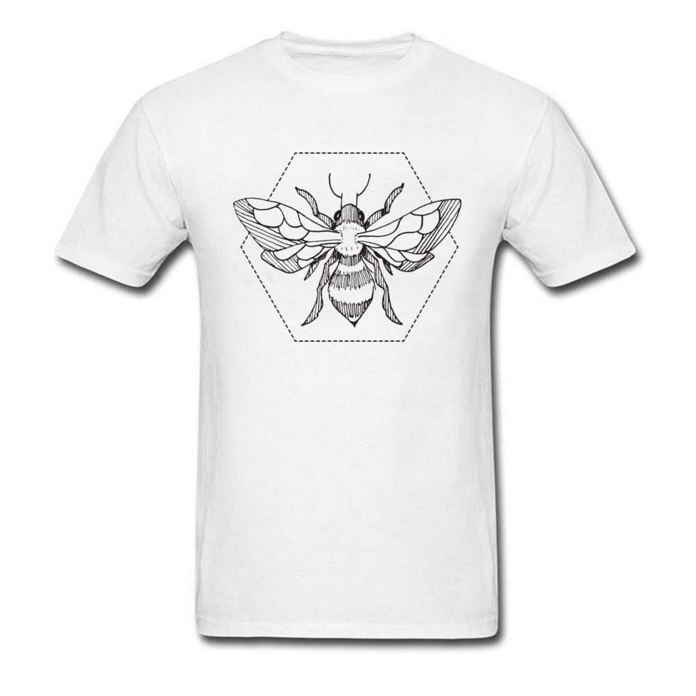 Hommes d'encre de stylo abeille Tattoo blanc T-shirt Racoon naturel Poutine Tops col rond T-shirts drôle uni shirt hommes Sweat à capuche Hoodie t-shirt