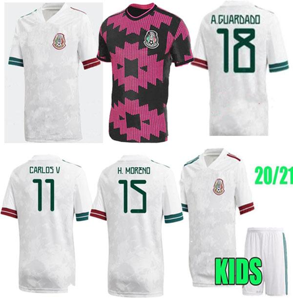 México Soccer Jersey Home Away Camisetas 20 21 Chicharito Lozano dos Santos 2020 2021 Camisas de Futebol Homens + Kit Kities Uniformes Maillots