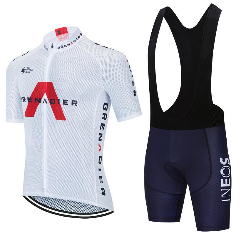 사이클링 저지 세트 2021 프로 팀 이에 오스 여름 통기성 자전거 의류 남성 / 여성 짧은 소매 자전거 저지 MTB 유니폼 턱받이 반바지 세트