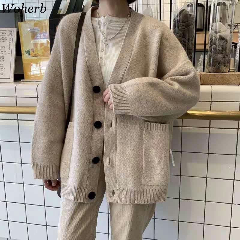Woherb negro suéter de punto mujeres v cuello manga larga color sólido cardigan vintage harajuku casual suelto tops moda nuevo 90728 201030