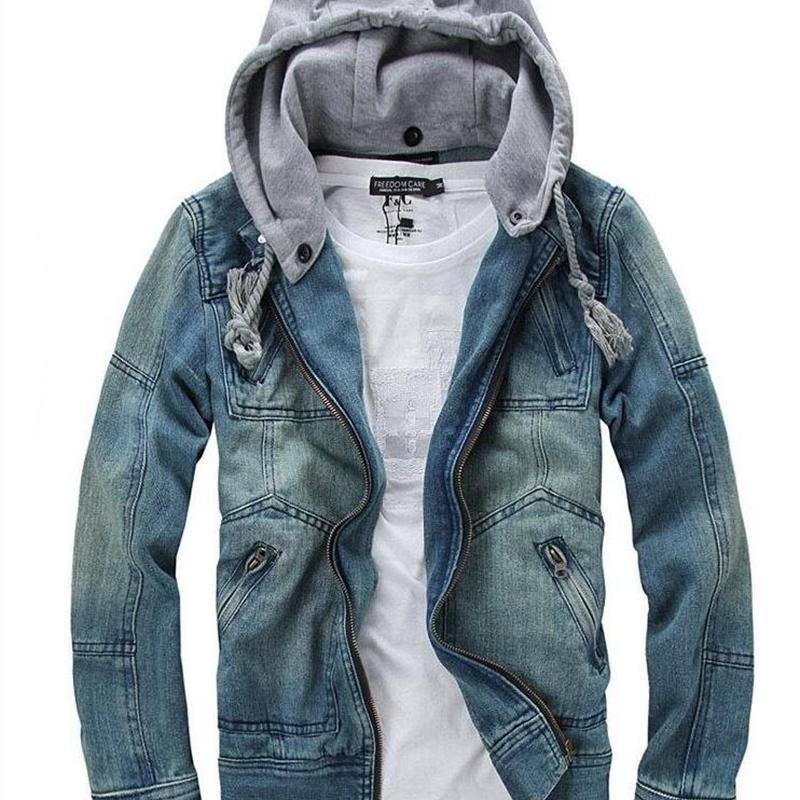 Горячая распродажа иностранный мужчина мода джинсовая куртка съемный с капюшоном мужчины джинсовая куртка джинсовая куртка джинсы размер m-5xl 201114