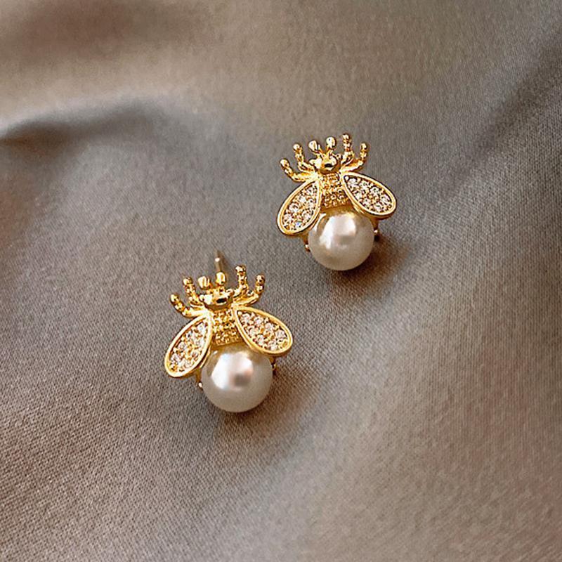 Nuovo carino piccolo orecchini ape per le donne di lusso individualità creatività perla dila di alta qualità gioielli intarsiato zircone regalo del partito caldo
