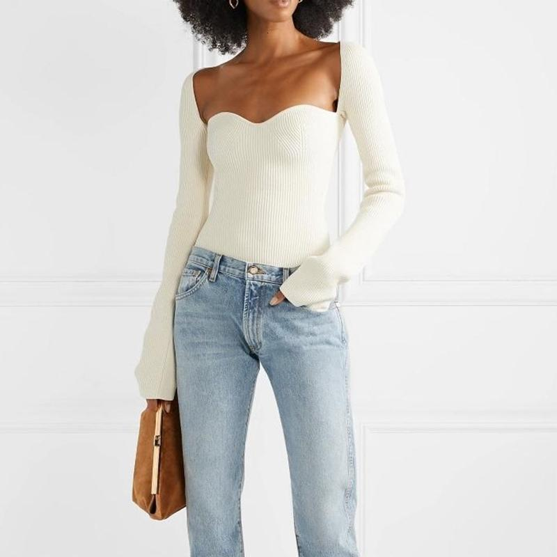 Корейский боковой сплит вязаный женский тонкий свитер квадратный воротник с длинным рукавом асимметричные свитеры женские мода новая одежда W096 Y200720