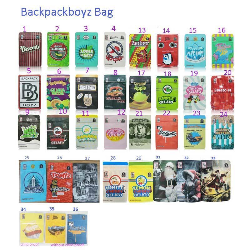 49 styles Sacs à dos de style 3.5g Mylar Sacs avec une épreuve d'enfant 420 Emballage Sac à dos Boyz Lucky Pippen 33 Sacs Runtz Sacs à l'odeur