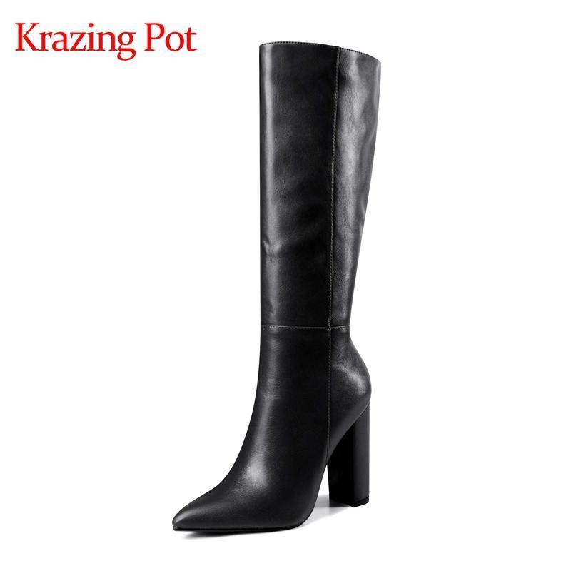 Krazing Topf 2020 neue Ankunft Westernstiefel spitzen Zehe Superabsatz bunten europäischen Stil Mode Reißverschluss kniehohe Stiefel L30