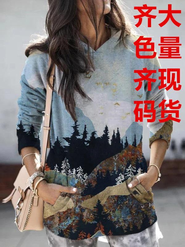 cor e tamanho uniforme 2020 nova impressão de roupas femininas populares paisagem camisola de manga longa
