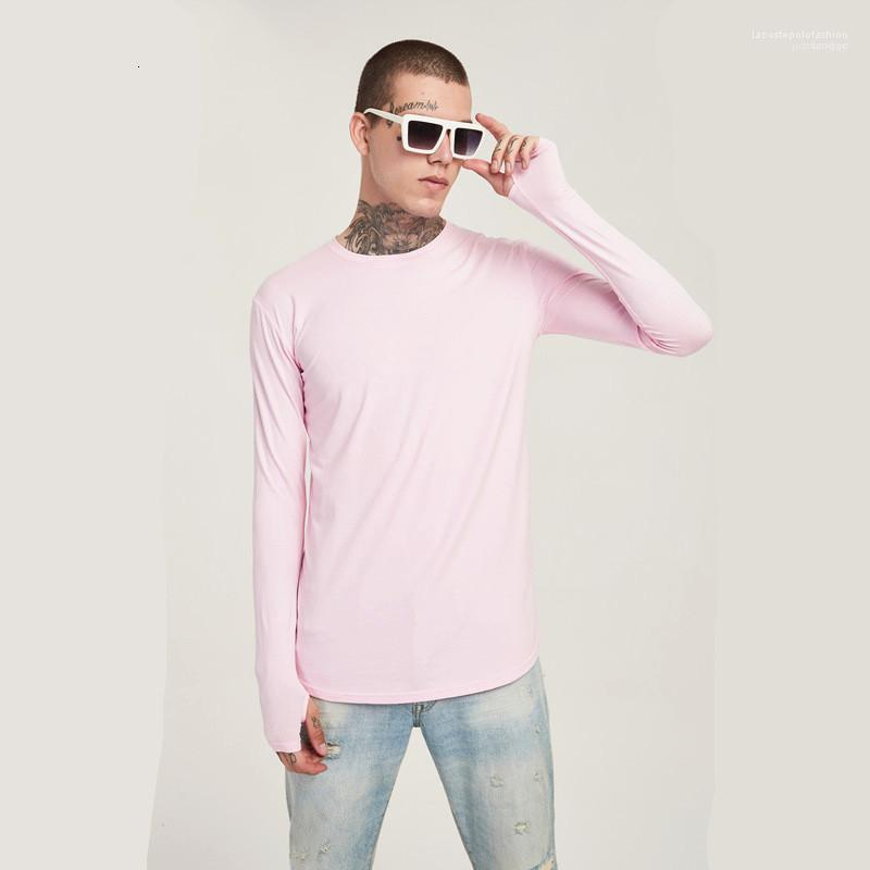 T-shirt cor sólida skinny o pescoço manga buracos longos homens tshirts moda esticar macho