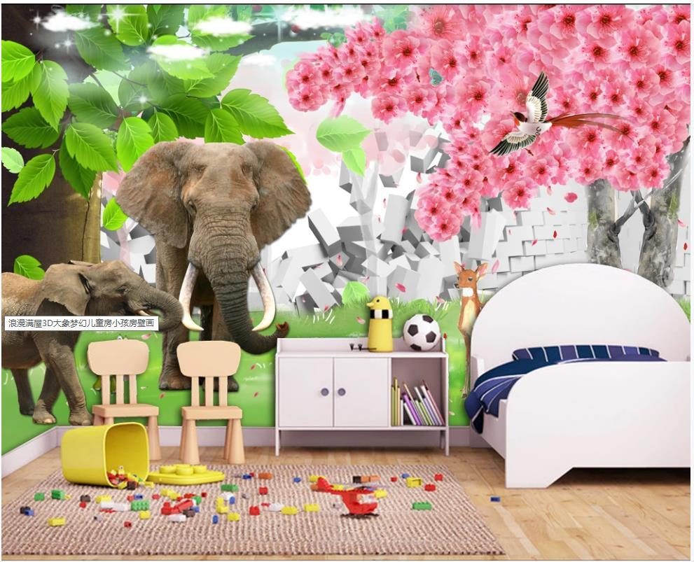 Custom photo wallpaper 3d mural wallpaper for living room Cartoon 3D Elephant Fantasy Tree Children's Room Mural wall papers home decoration