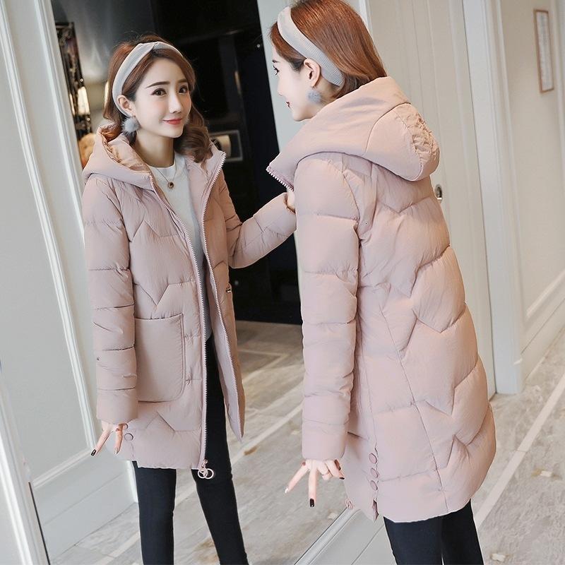 Уменьшен 20 вниз корейская версия Свободные и утолщенные женские мягкие куртки средней длины зимнего хлопка