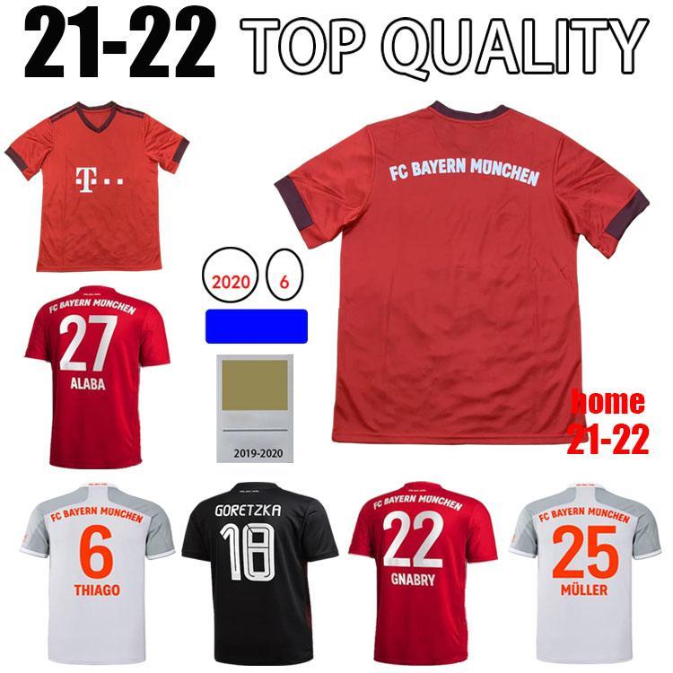 21 2 22 Sane Lewandowski Coman Gnabry Alaba Davies Muller Jersey 2021 2022 Bayern Camisa de Futebol Munich