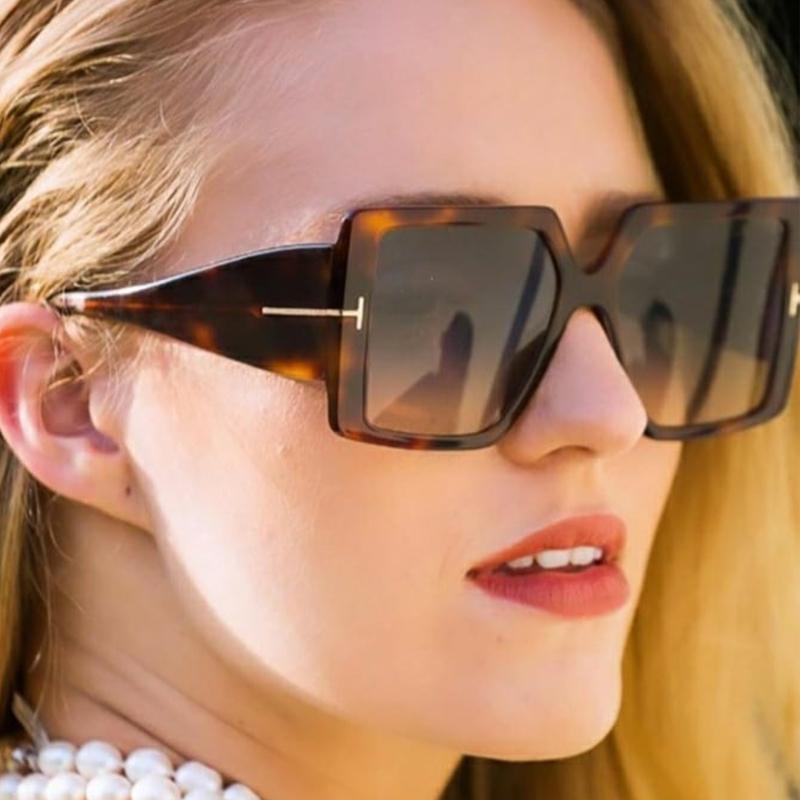 Новые модные негабаритные рамки квадратные солнцезащитные очки женщин бренд T Color Sun очки дамы сексуальные леопардовые оттенки женские oculos feminino
