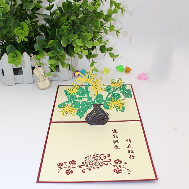 Flor 3D Up do casamento do crisântemo Cartões com cartão envolope Cartão Handmade Blessing Saudação