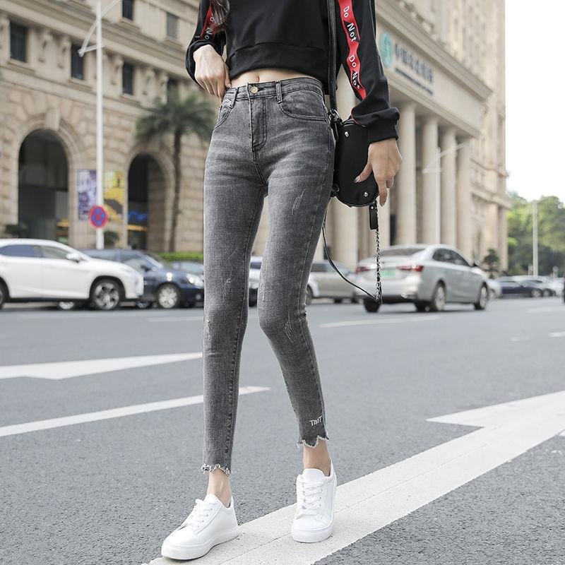 2020 yeni sıska kadın kot kot pantolon gerilebilir pamuklu kumaş kadının kalem pantolon klasik gri bayanlar uzun pantolon kot w0104